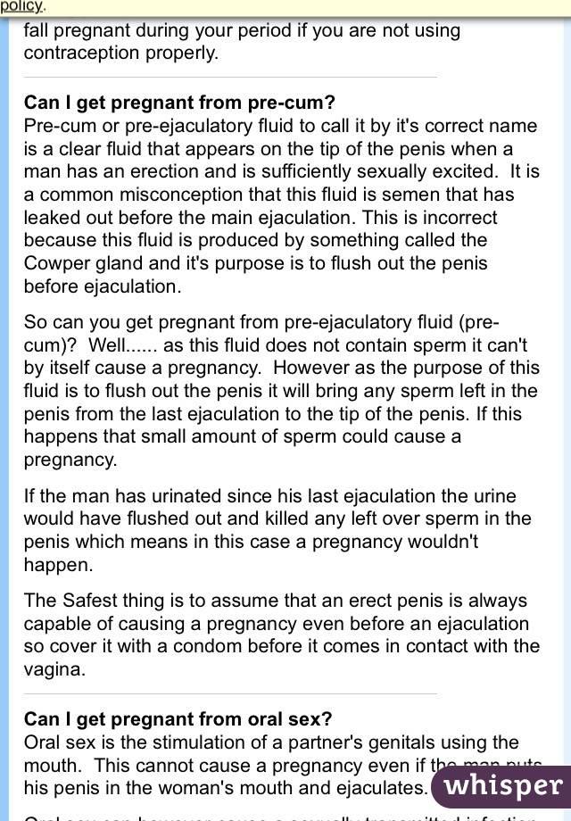 Pre ejaculatory fluid sperm