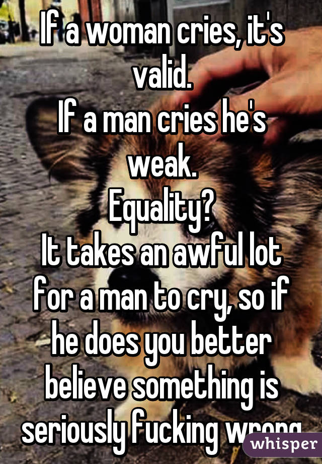 Man cries over woman