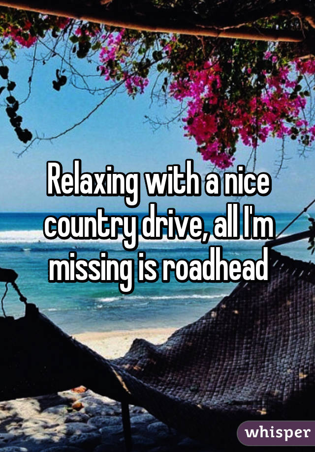 Relaxing with a nice country drive, all I'm missing is roadhead