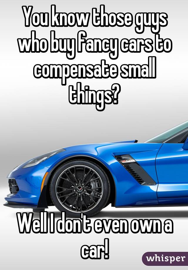 You know those guys who buy fancy cars to compensate small things ...