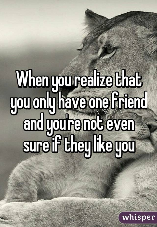 when you realize that you only have one friend and you re not even