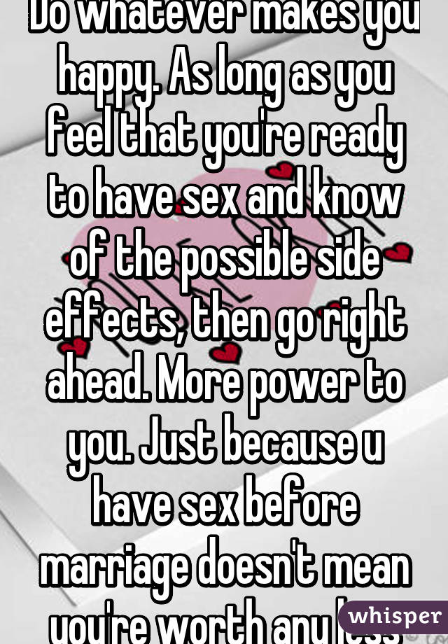 Effects of having sex before marriage