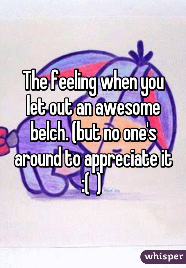 The feeling when you let out an awesome belch. (but no one's around to appreciate it :(  )