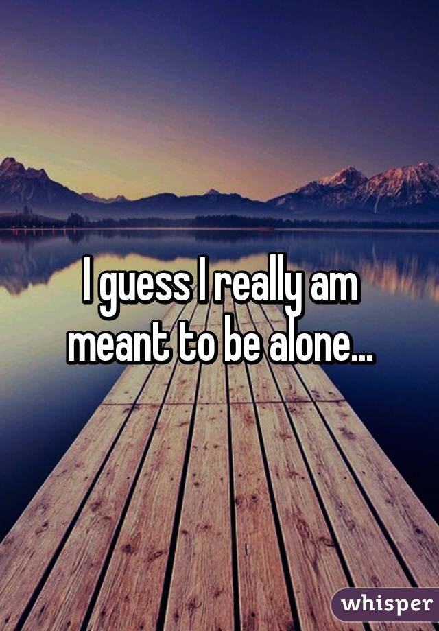 I guess I really am meant to be alone...