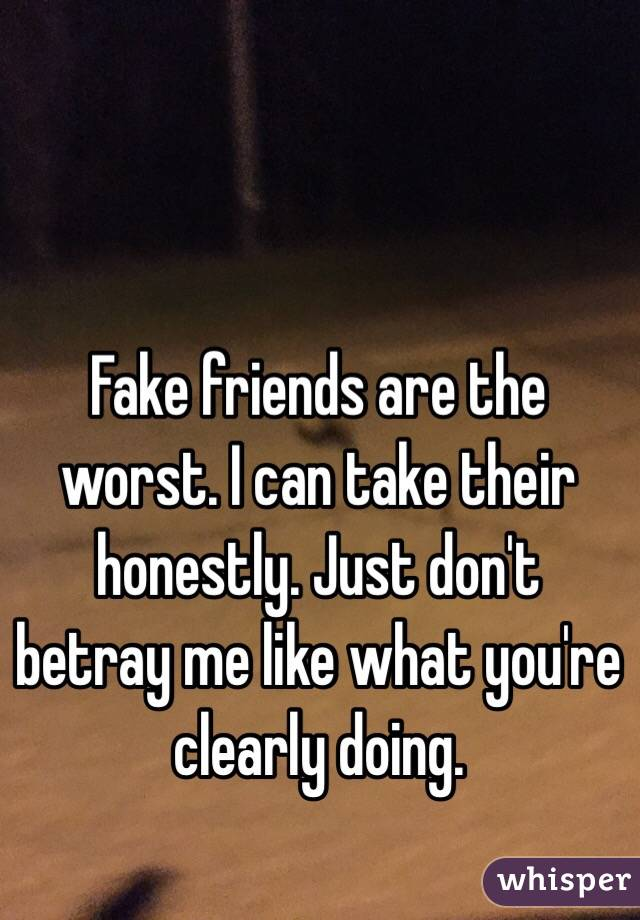 Fake friends are the worst. I can take their honestly. Just don't betray me like what you're clearly doing.