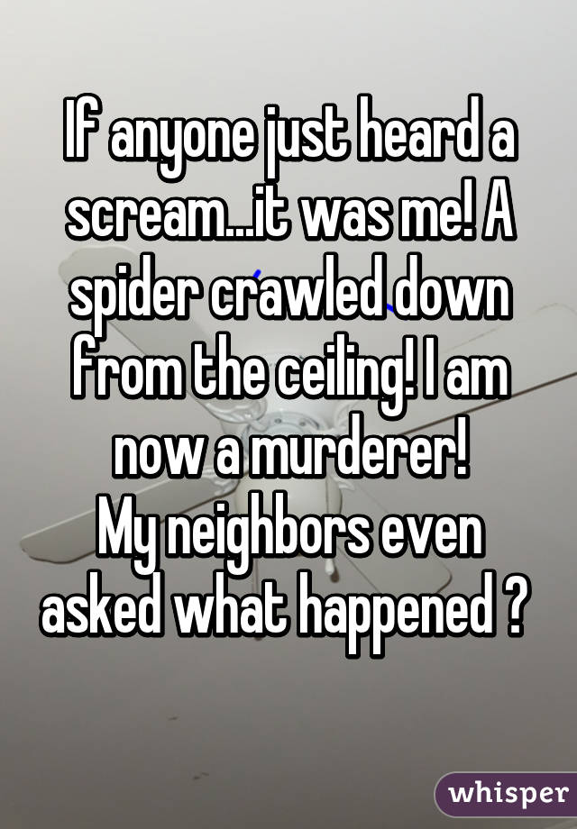 If anyone just heard a scream...it was me! A spider crawled down from the ceiling! I am now a murderer! My neighbors even asked what happened 😕