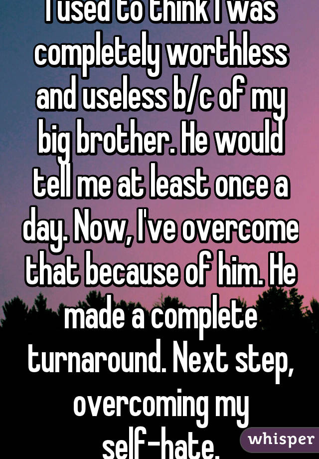I used to think I was completely worthless and useless b/c of my big brother. He would tell me at least once a day. Now, I've overcome that because of him. He made a complete turnaround. Next step, overcoming my self-hate.
