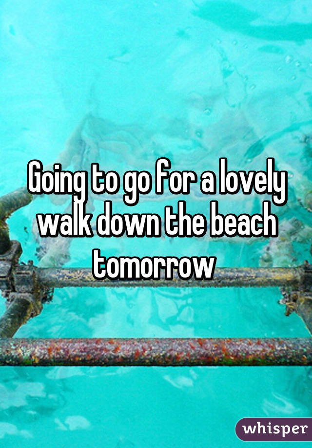 Going to go for a lovely walk down the beach tomorrow