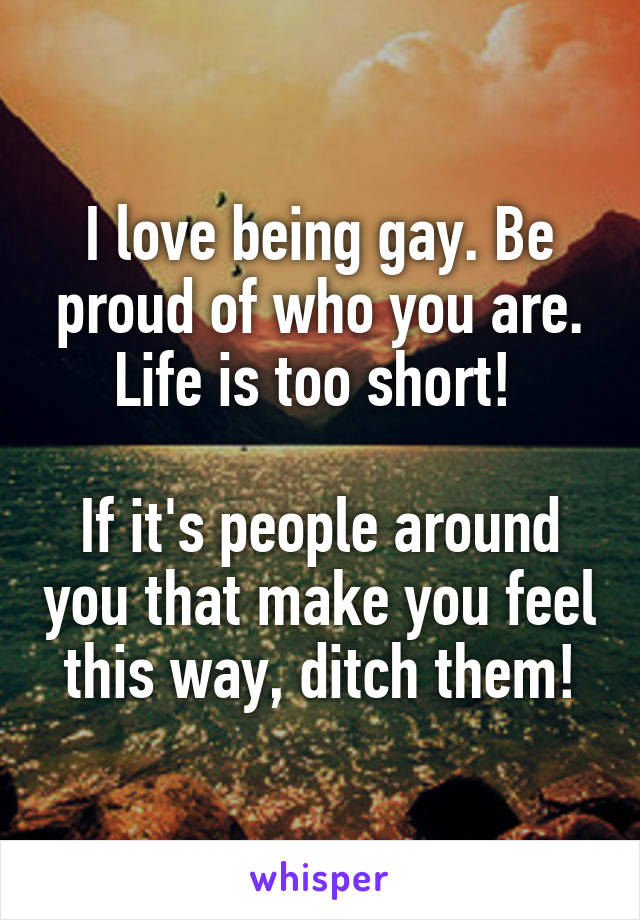 I love being gay. Be proud of who you are. Life is too short!   If it's people around you that make you feel this way, ditch them!