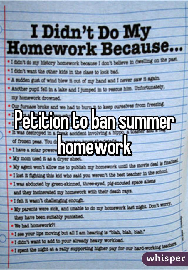 Ban homework petition