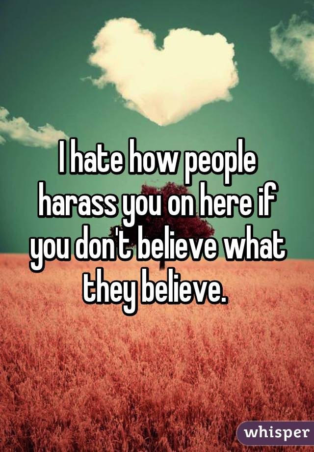 I hate how people harass you on here if you don't believe what they believe.