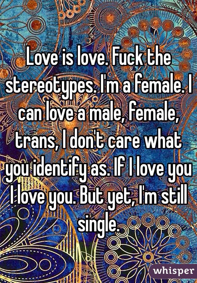 Love is love. Fuck the stereotypes. I'm a female. I can love a male, female, trans, I don't care what you identify as. If I love you I love you. But yet, I'm still single.