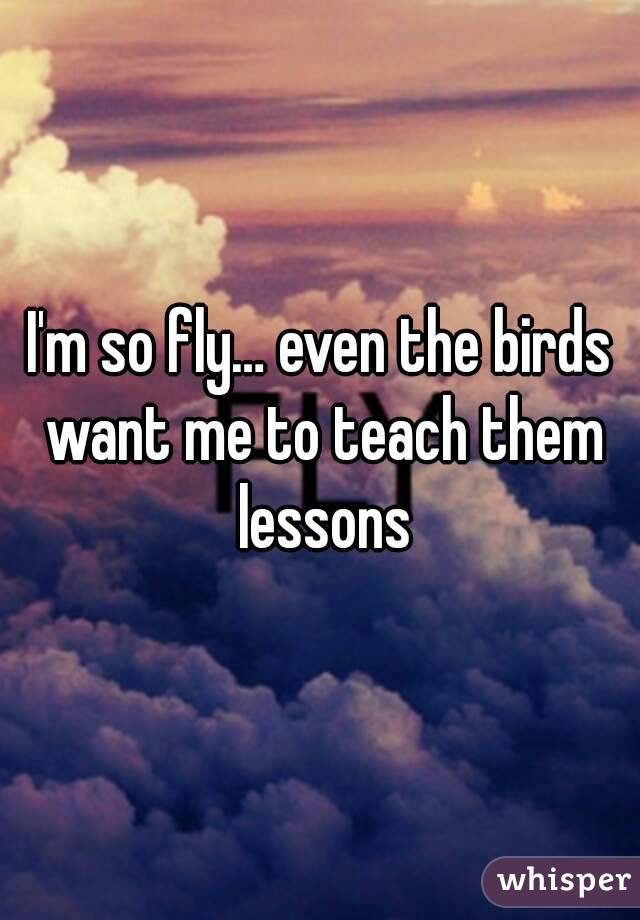 I'm so fly… even the birds want me to teach them lessons