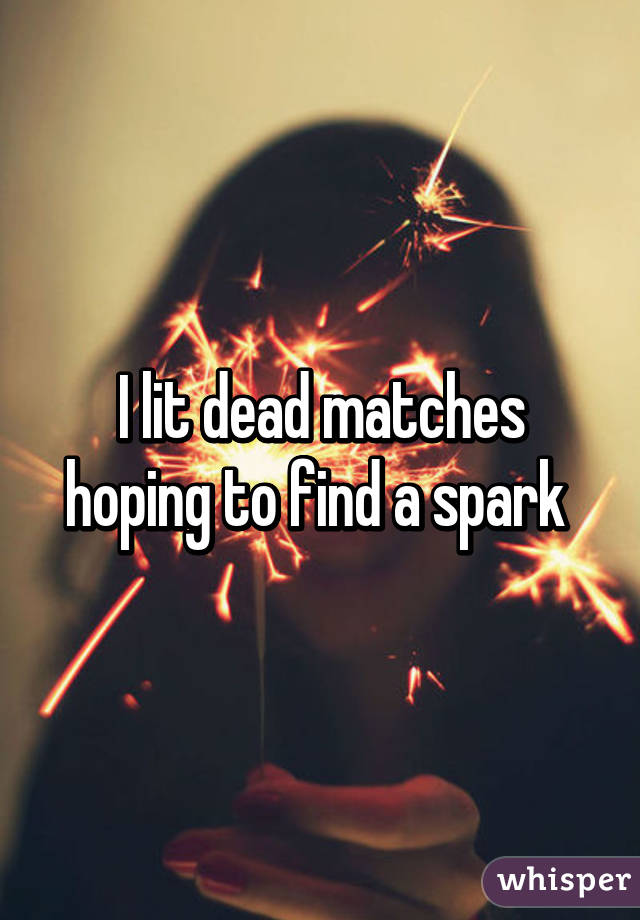 I lit dead matches hoping to find a spark