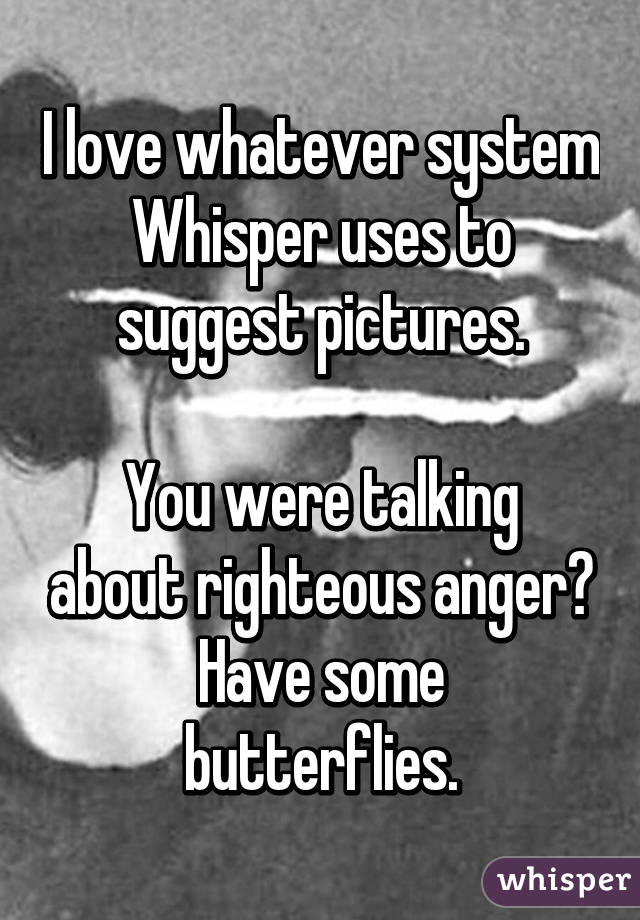 I love whatever system Whisper uses to suggest pictures.  You were talking about righteous anger? Have some butterflies.