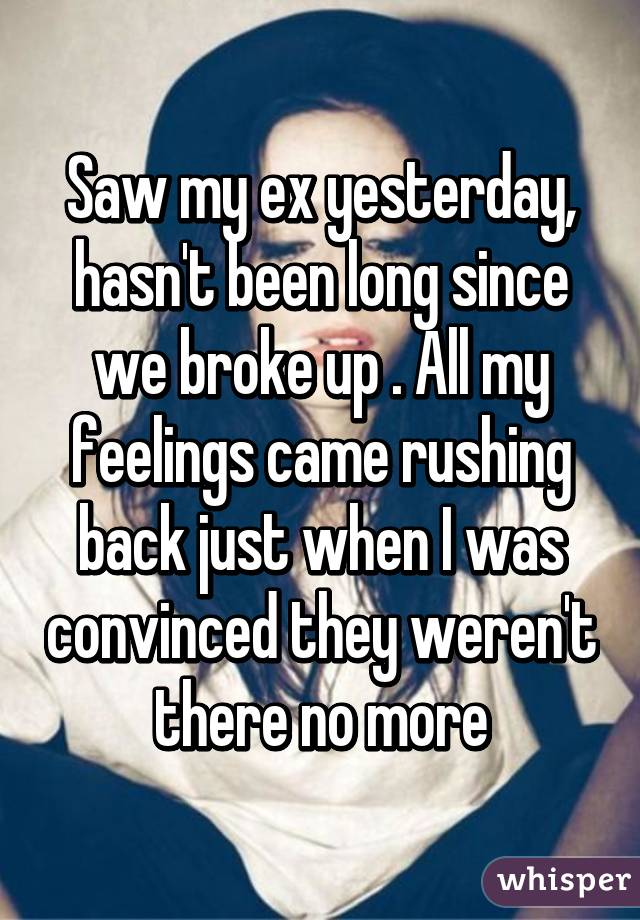 Saw my ex yesterday, hasn't been long since we broke up . All my feelings came rushing back just when I was convinced they weren't there no more