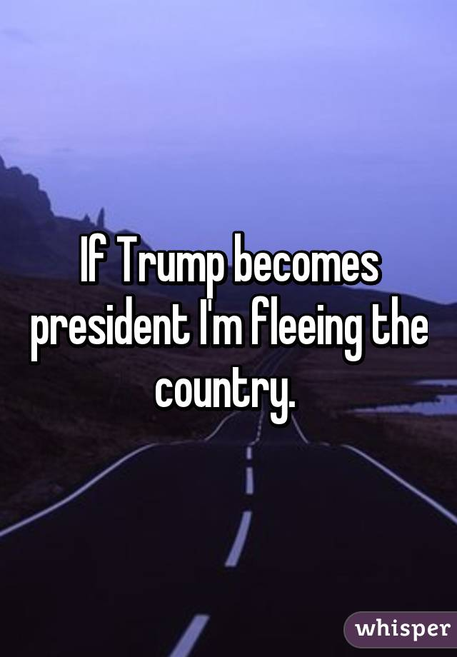 If Trump becomes president I'm fleeing the country.