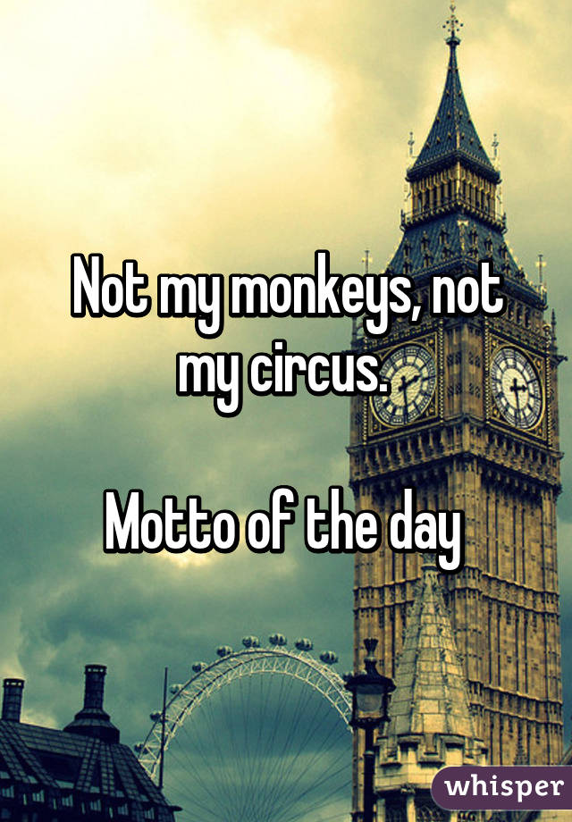 Not my monkeys, not my circus.   Motto of the day