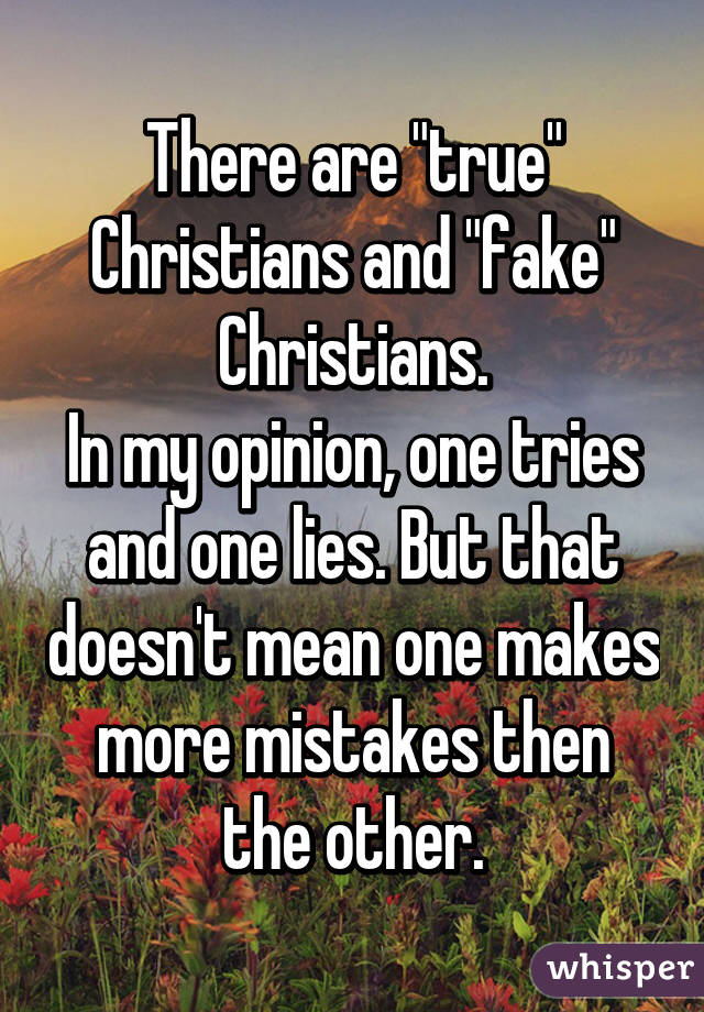 """There are """"true"""" Christians and """"fake"""" Christians. In my opinion, one tries and one lies. But that doesn't mean one makes more mistakes then the other."""