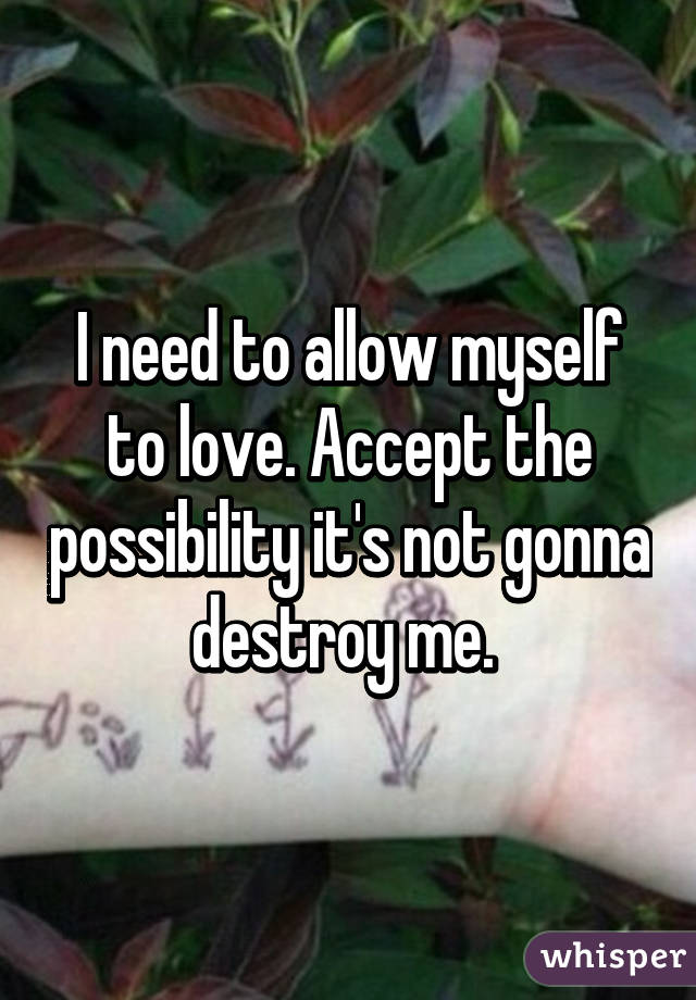 I need to allow myself to love. Accept the possibility it's not gonna destroy me.