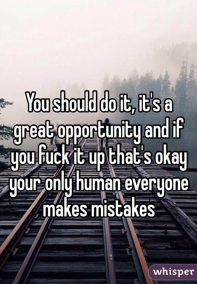 You should do it, it's a great opportunity and if you fuck it up that's okay your only human everyone makes mistakes