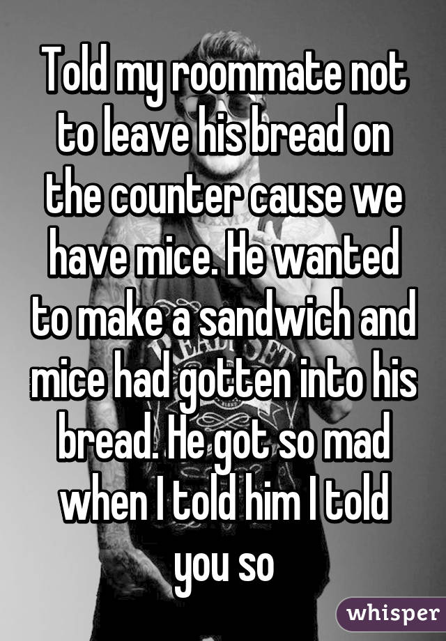 Told my roommate not to leave his bread on the counter cause we have mice. He wanted to make a sandwich and mice had gotten into his bread. He got so mad when I told him I told you so