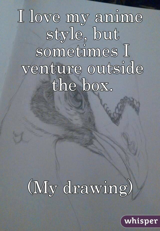 I love my anime style, but sometimes I venture outside the box.      (My drawing)