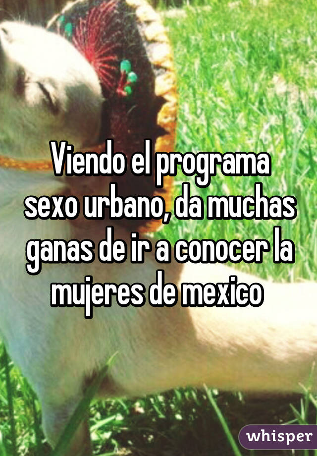 Viendo el programa sexo urbano, da muchas ganas de ir a conocer la mujeres de mexico