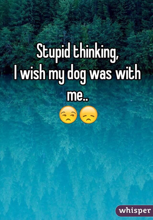 Stupid thinking, I wish my dog was with me..  😒😞