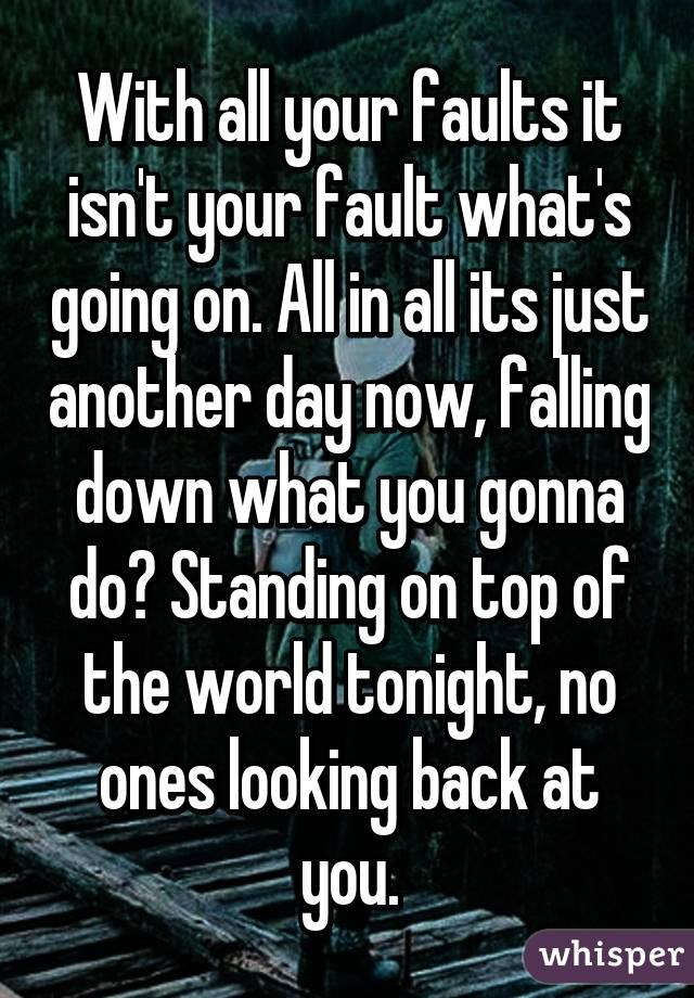 With all your faults it isn't your fault what's going on. All in all its just another day now, falling down what you gonna do? Standing on top of the world tonight, no ones looking back at you.