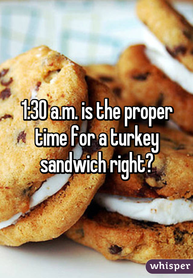 1:30 a.m. is the proper time for a turkey sandwich right?