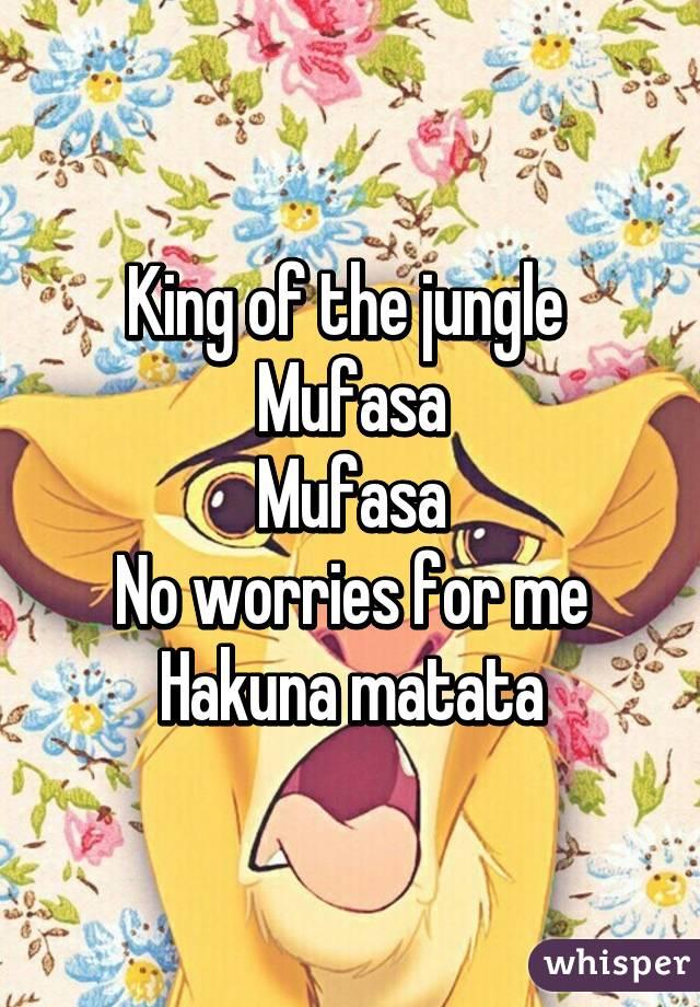 King of the jungle  Mufasa Mufasa No worries for me Hakuna matata