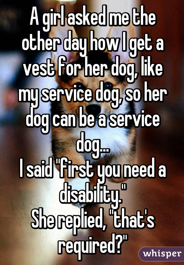 """A girl asked me the other day how I get a vest for her dog, like my service dog, so her dog can be a service dog... I said """"first you need a disability."""" She replied, """"that's required?"""""""