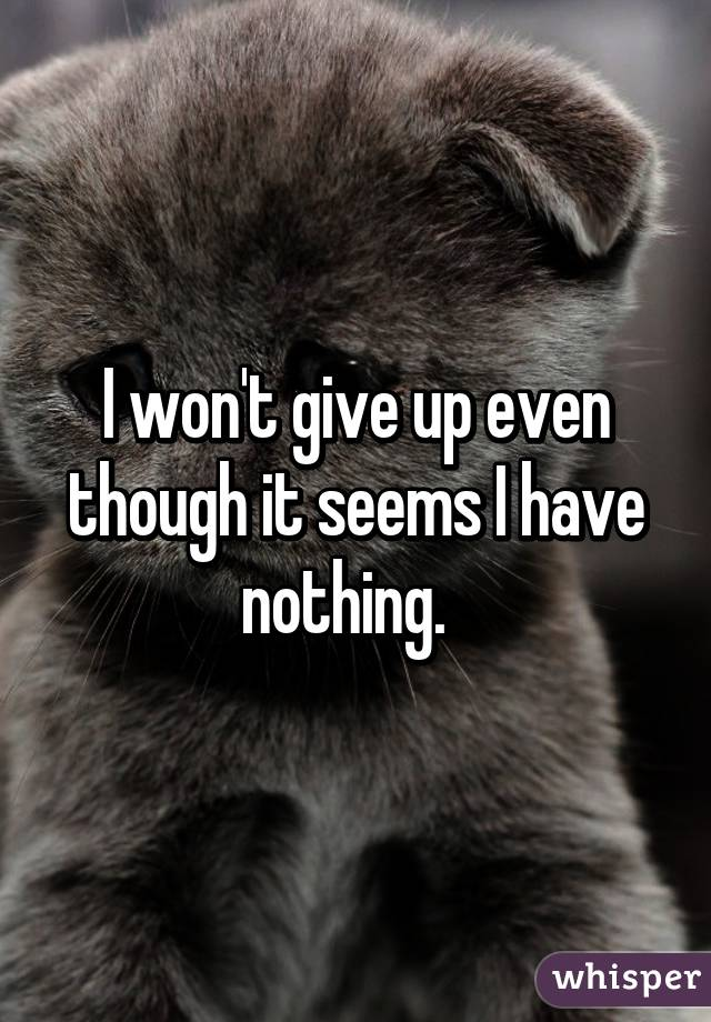 I won't give up even though it seems I have nothing.