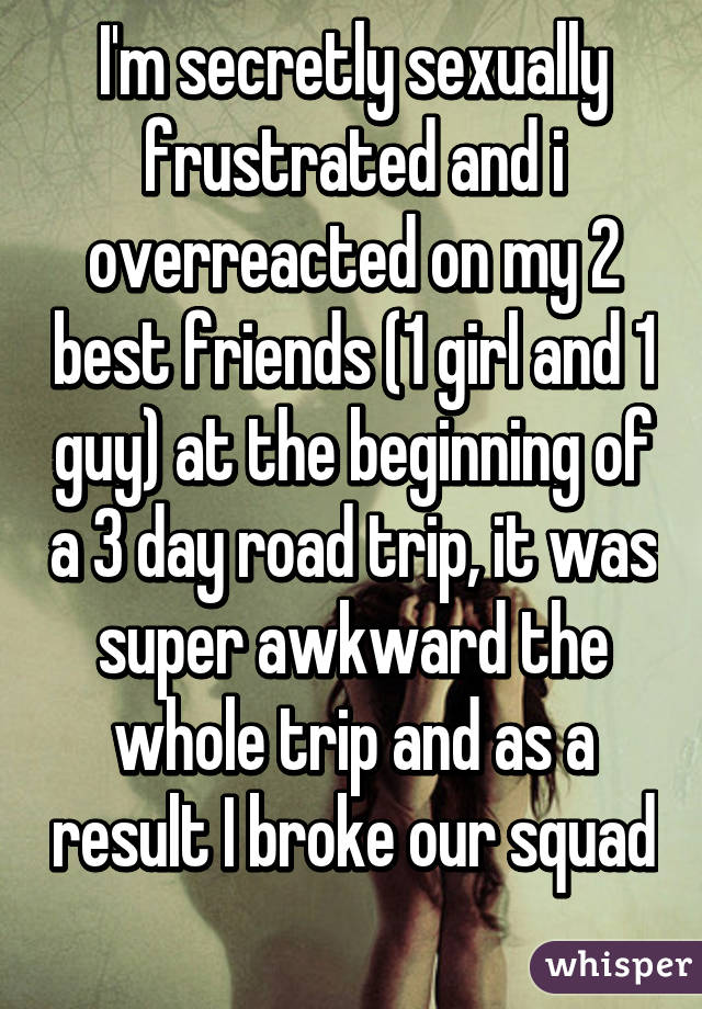 I'm secretly sexually frustrated and i overreacted on my 2 best friends (1 girl and 1 guy) at the beginning of a 3 day road trip, it was super awkward the whole trip and as a result I broke our squad