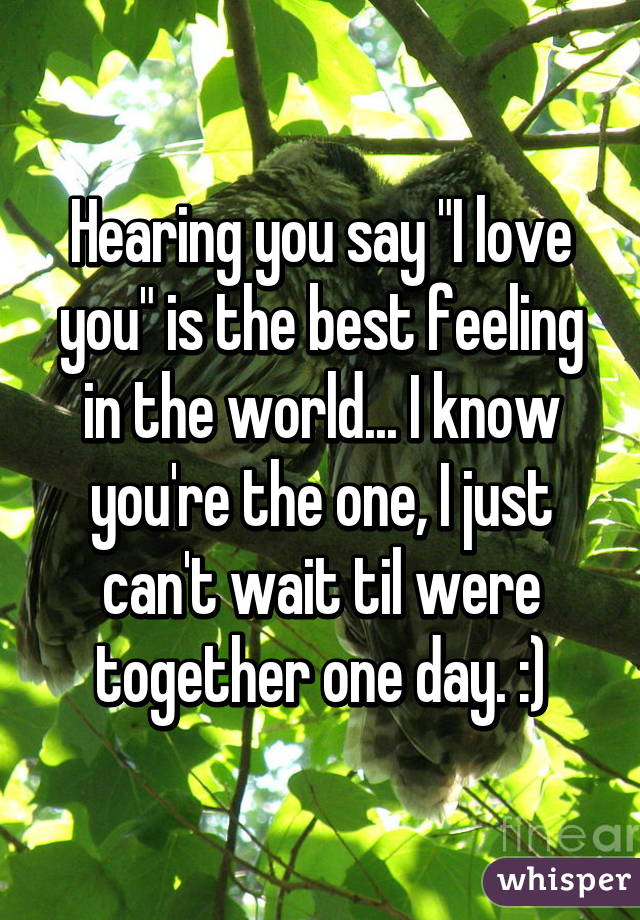 """Hearing you say """"I love you"""" is the best feeling in the world... I know you're the one, I just can't wait til were together one day. :)"""