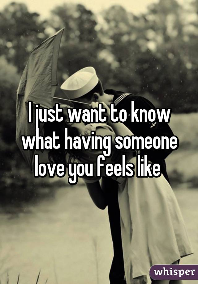 I just want to know what having someone love you feels like