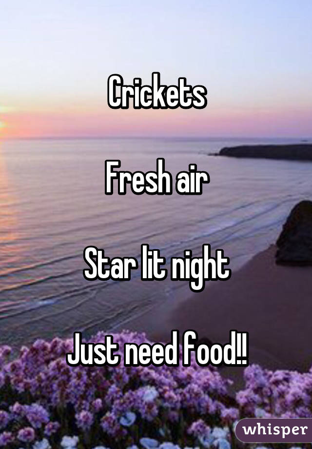 Crickets  Fresh air  Star lit night  Just need food!!