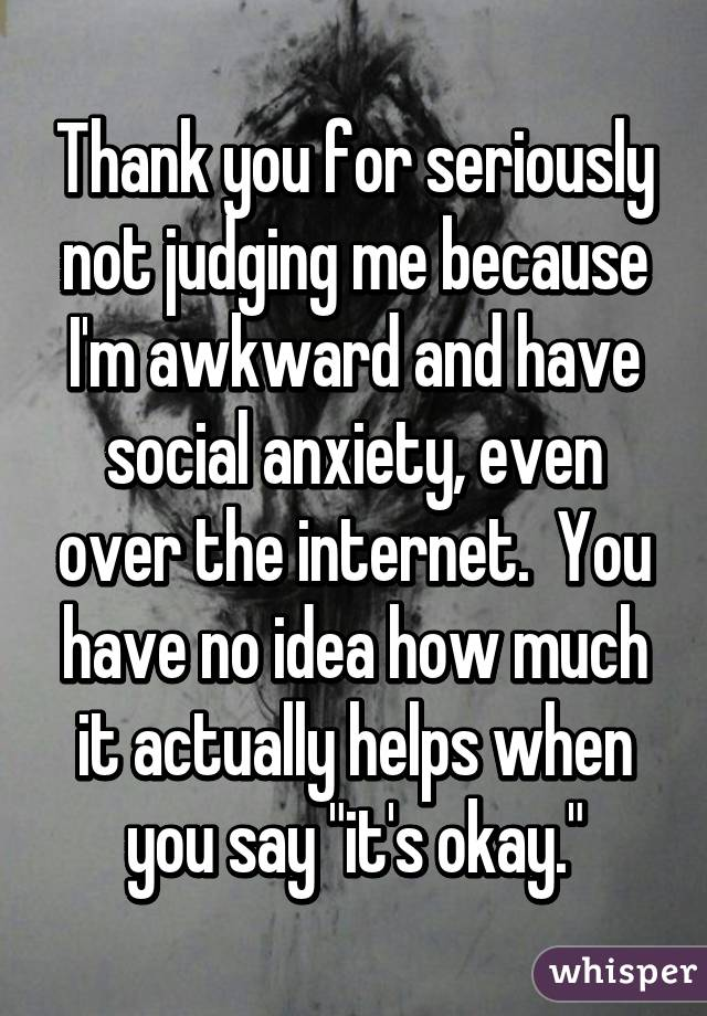 """Thank you for seriously not judging me because I'm awkward and have social anxiety, even over the internet.  You have no idea how much it actually helps when you say """"it's okay."""""""