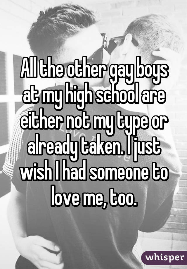 All the other gay boys at my high school are either not my type or already taken. I just wish I had someone to love me, too.