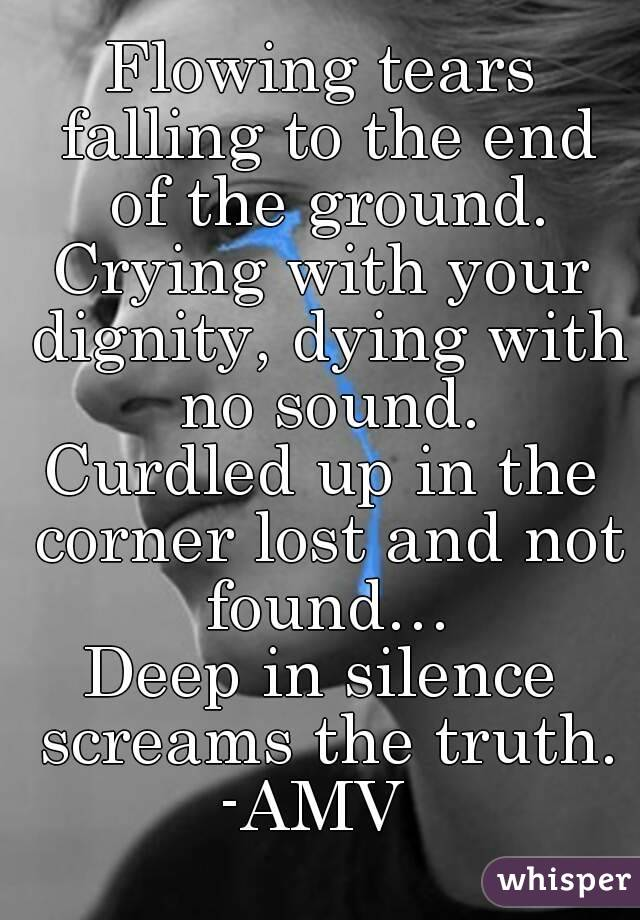 Flowing tears falling to the end of the ground. Crying with your dignity, dying with no sound. Curdled up in the corner lost and not found… Deep in silence screams the truth. -AMV