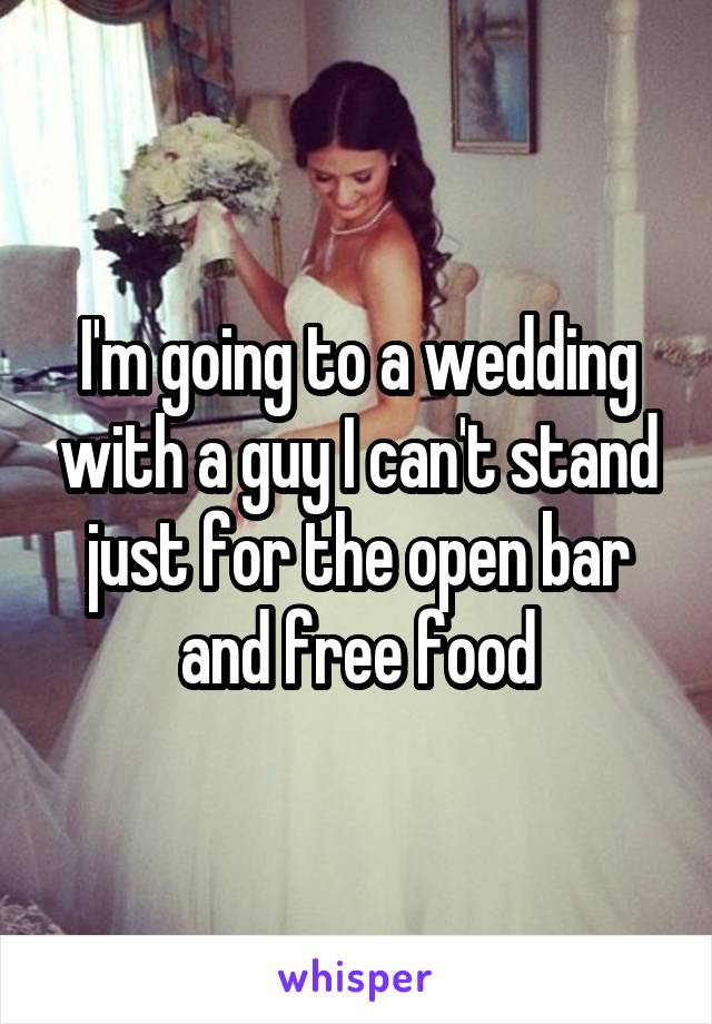 I'm going to a wedding with a guy I can't stand just for the open bar and free food