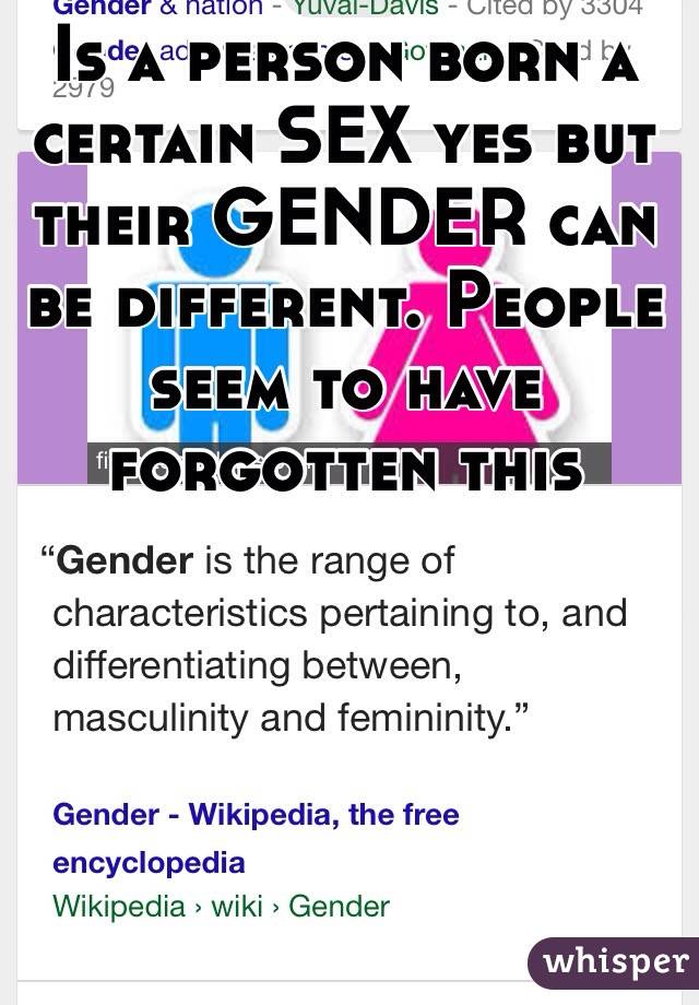 Is a person born a certain SEX yes but their GENDER can be different. People seem to have forgotten this