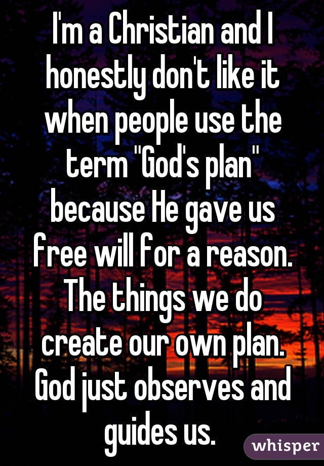 """I'm a Christian and I honestly don't like it when people use the term """"God's plan"""" because He gave us free will for a reason. The things we do create our own plan. God just observes and guides us."""