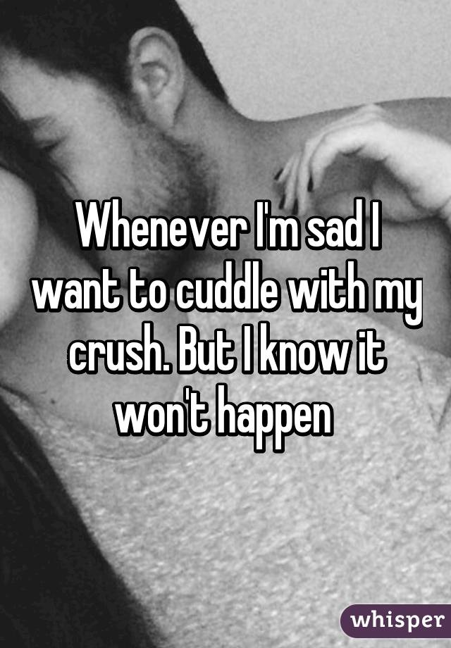 Whenever I'm sad I want to cuddle with my crush. But I know it won't happen