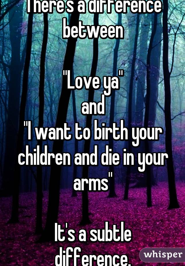 "There's a difference between  ""Love ya""  and  ""I want to birth your children and die in your arms""  It's a subtle difference."