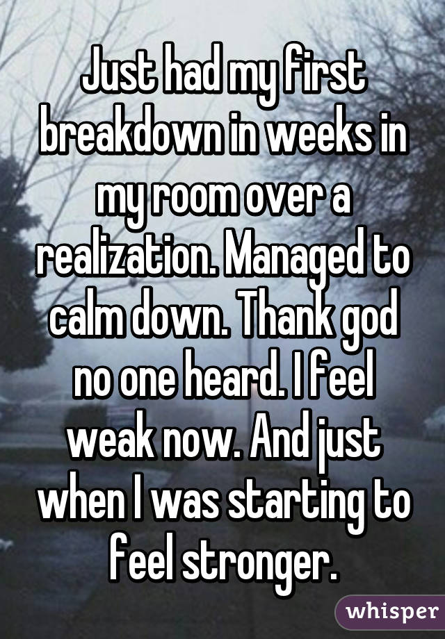 Just had my first breakdown in weeks in my room over a realization. Managed to calm down. Thank god no one heard. I feel weak now. And just when I was starting to feel stronger.