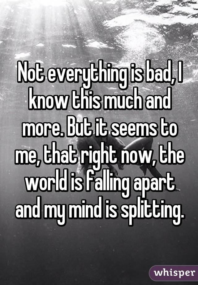 Not everything is bad, I know this much and more. But it seems to me, that right now, the world is falling apart and my mind is splitting.