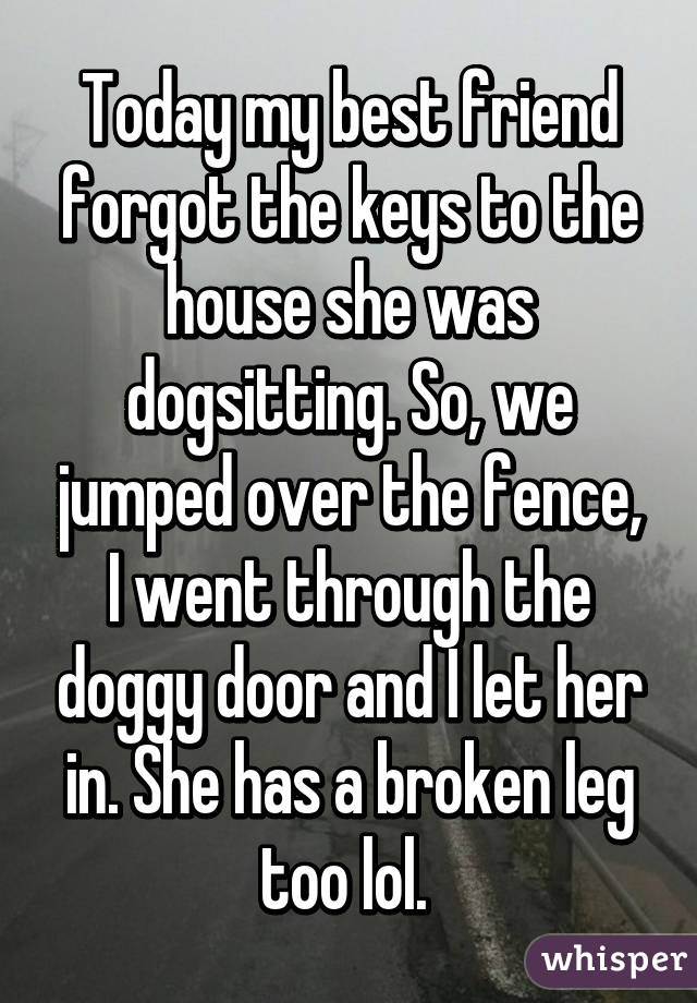 Today my best friend forgot the keys to the house she was dogsitting. So, we jumped over the fence, I went through the doggy door and I let her in. She has a broken leg too lol.