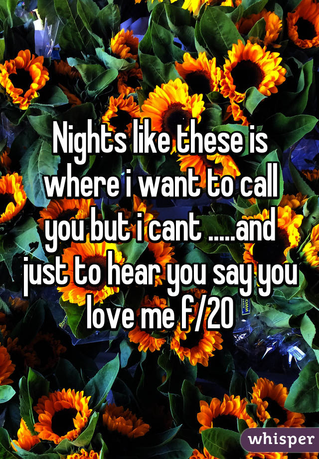 Nights like these is where i want to call you but i cant .....and just to hear you say you love me f/20